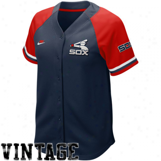 Nike Chicago White Sox Women's Navy Blu3-red Cooperstown Quick Pick Vintage Baseball Jersey
