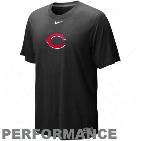 Nike Cincinnati Redq Black Dri-fit Logo Legend Performanve T-shirt