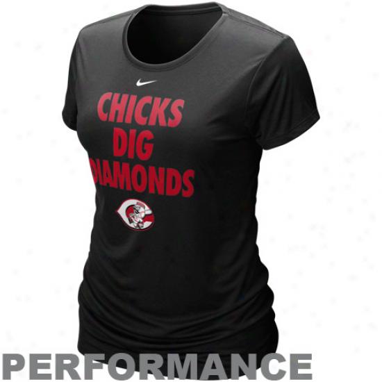 Nike Cincinnati Reds Ladies Chicks Dig Diamonds Black Performance T-shirt