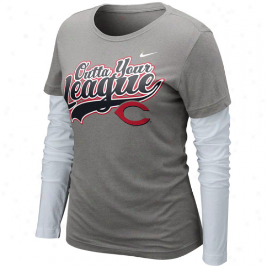Nike Cincinnati Reds Ladies League Double Stratum Long Sleeve T-shirt - Charcoal-white