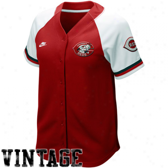 Nike Cincinnati Reds Women's Re-dwhite Cooperstown Quick Pick Vintage Baseball Jersey