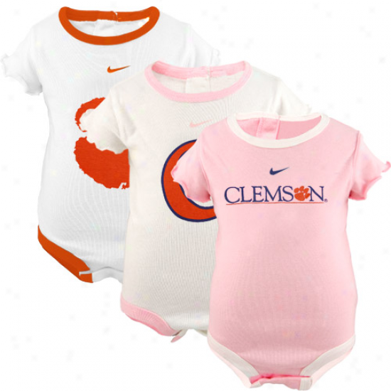 Nike Clemson Tigers Infant Girls Pink-white 3-pack Creeper Set