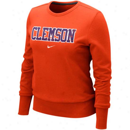 Nike Clemson Tigers Ladies Orange Comfg Crew Pullover Sweatshirt