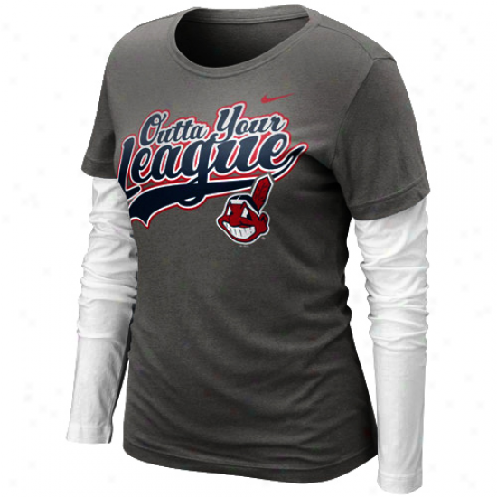 Nike Cleveland Indians Ladies League Double Layer Long Sleeve T-shirt - Chaccoal/white
