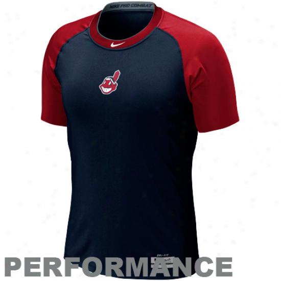 Nike Cleveland Indians Pro Cobat Core 1..2 Performance T-shirt - Navy Blue