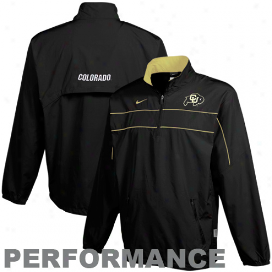 Nike Colorado Buffaloes Black Shotgun Formation Qurter Zip Pullover Performance Jacket
