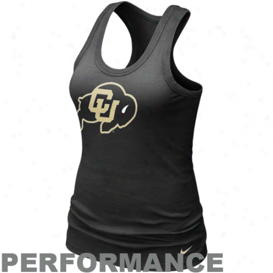 Nike Colorado Buffaloes Ladies Black Dri-fit Got Your Back Racerback Pe5formance Tank Top