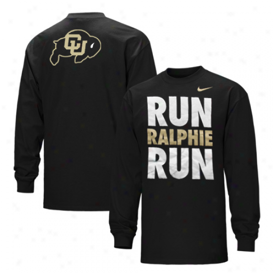 Nike Colorado Buffaloes Run Ralphie Run Lengthy Sleeve T-shirt - Black