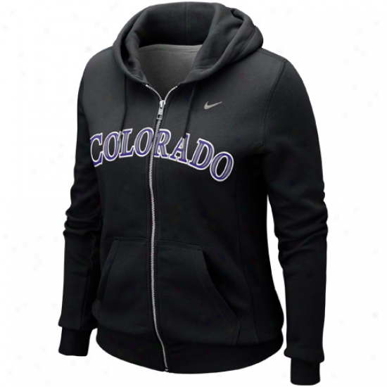 Nike Colorado Rockies Ladies Classic Full Zip Hoodid - Black
