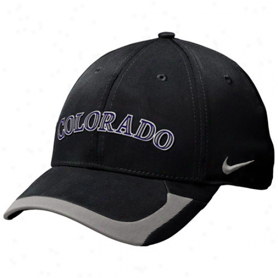 Nike Colorado R0ckies Tactile Ii Legacy 91 Swoosh Flex Hat - Black