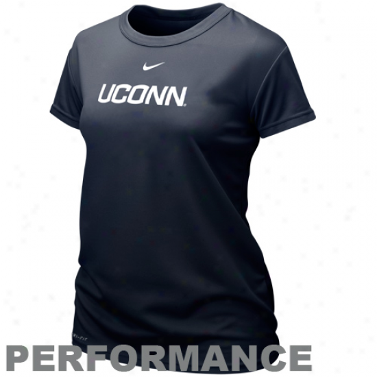 Nike Connecticut Huskies (uconn) Ladies School Name Performamce T-shirt - Navy Blue