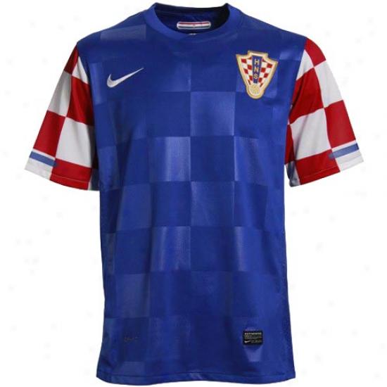 Nike Croatia Royal Blue World Cup Replica Away Performance Soccer Jersey