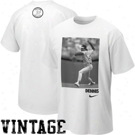 Nike Dennis Eckrrsley Oakland Athletics Dennis Cooperstown Player T-shirt - White