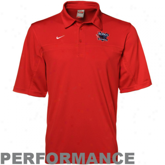 Nike Depaul Blue Demons Red Nikefit Performance Polo