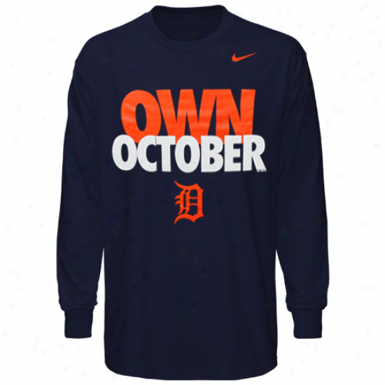 Nike Detroit Tigers Own October Long Sleeve T-ahirt - Navy Blue