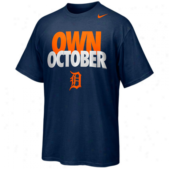 Nike Detroit Tigers Own October T-shirt - Navy Blue