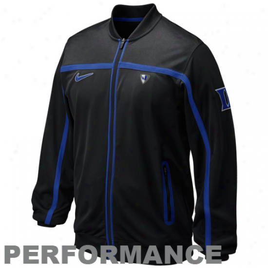 Nike Duke Blue Devils Black Elite Basketball Big Game Fuil Zip Performance Jacket
