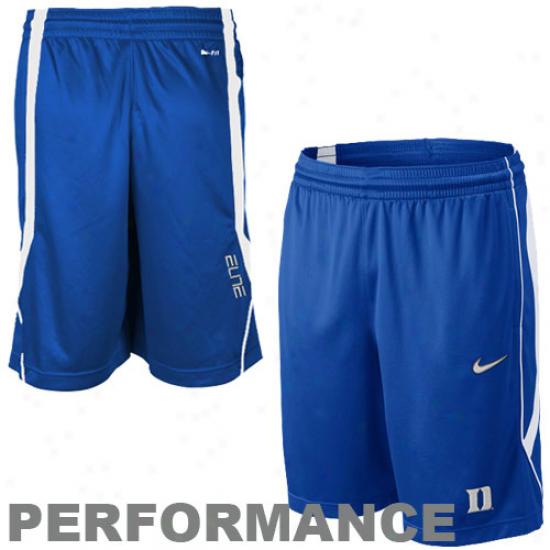 Nike Duke Blue Devilx Duke Blue Elite Pregame Performance Basketball Shorts