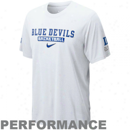 Nike Duke Azure Devils Fadeaway Three Legend Elite Performance T-shirt - White