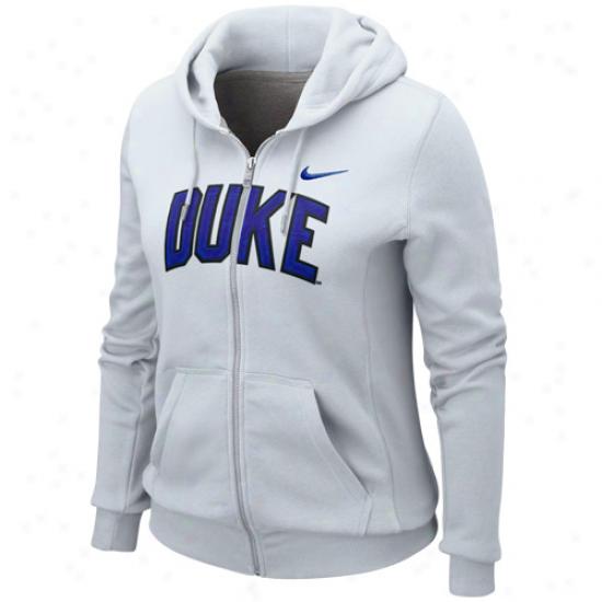 Nike Duke Blue Devils Ladies Duke White University Classic Full Zip Hoodie Sweatshirt
