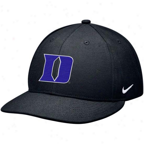 Nike Duke Blue Devils True Authentic Fitted Baseball Hat - Black