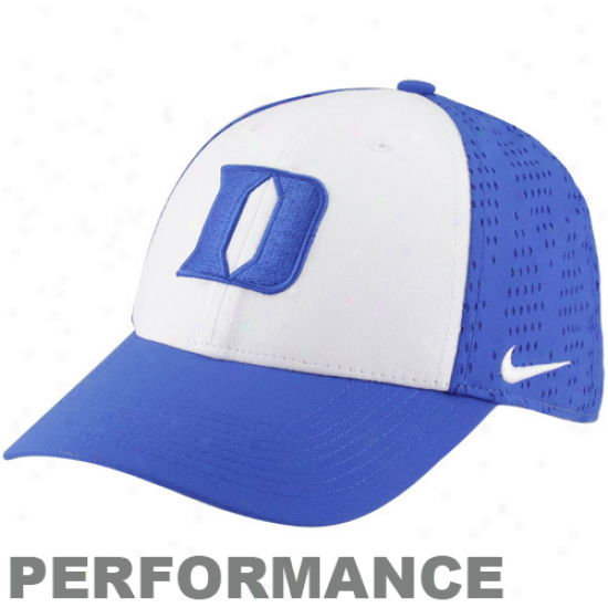Nike Duke Blue Devils White-duke Blue Titanium Elite Screen & Roll Performance Legacy 91 Swoosh Flex Hat