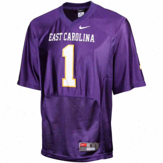 Nike East Carolina Pirates #1 Replica Football Jersey - Purple