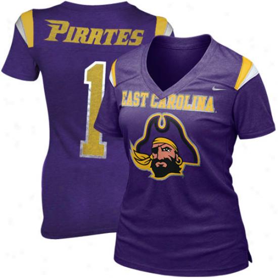 Nike East Carolina Pirates Ladies Replica Football Premium T-shirt - Purple