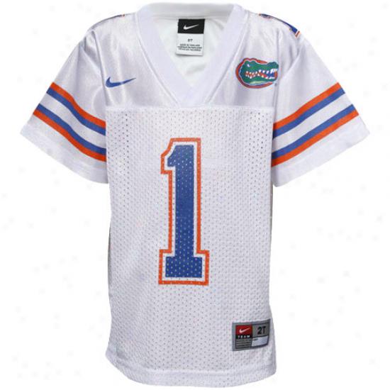 Nike Florida Gators #1 Toddler Replica Footbail Jersey-white