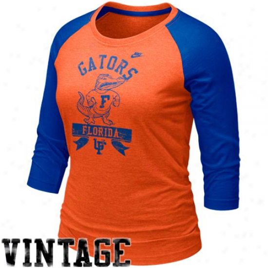 Nike Florida Gators Lzdies Orange-royal Blue Vault Raglan Three-quarter Length Sleeve T-shirt