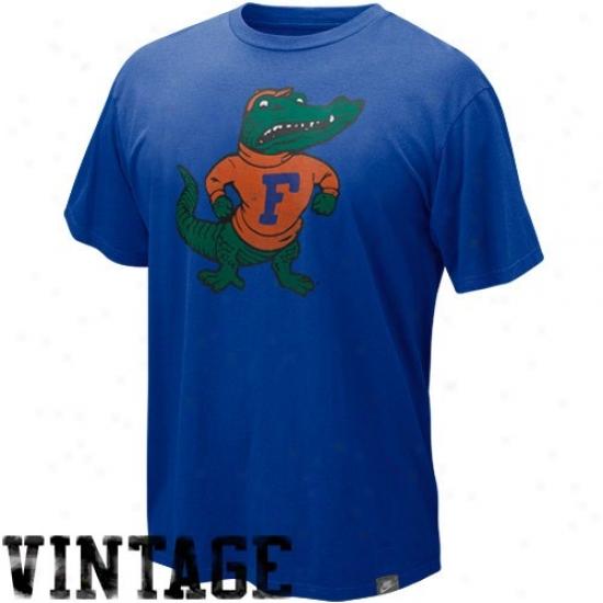 Nike Florida Gators Noble Blue Vault Distressed Retro Logo Organic T-shirt