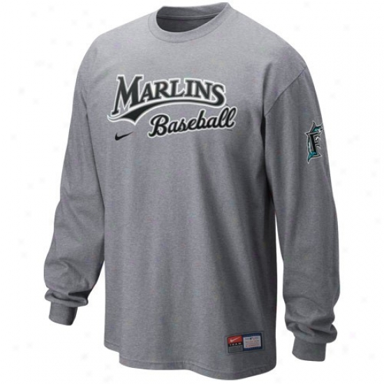 Nike Florida Marlins Ash Mlb Practice Long Sleeve T-shirt