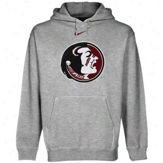 Nike Florida State Seminoles (fsu) Ash Classic Logo Pullover Hoodie Sweatshirt
