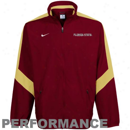 Nike Florida State Seminoles (fsu) Garnet Backfield Woven Full Zip Performance Jacket