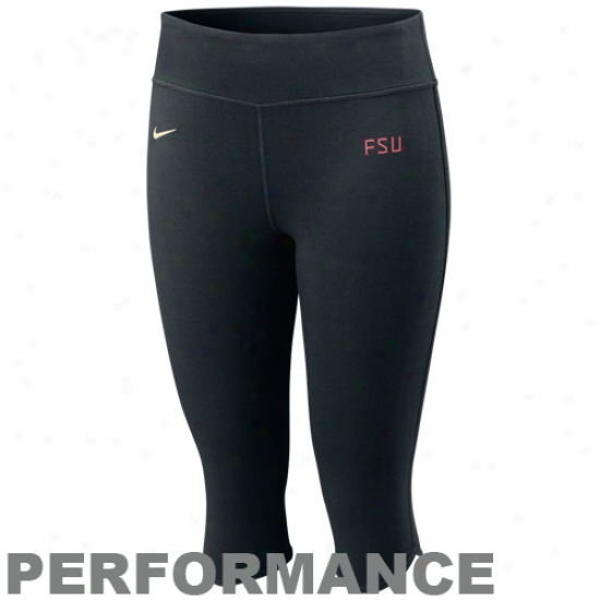 Nike Florida State Seminoles (fsu) Ladies Black Be Immovable Performance Tri-blend Workout Capri Pants