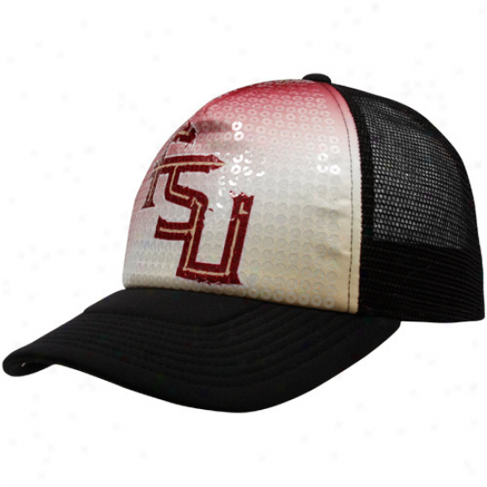 Nike Florida State Seminoles (fsu) Ladies Black Legacy 91 Sequin Mesh Adjustable Trucker Hat