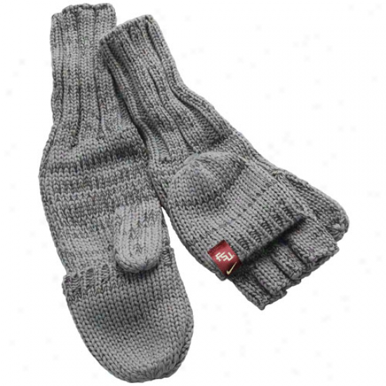 Nike Florida State Seminoles (fsu) Ladies Charcoal Knit Convertible Mittens