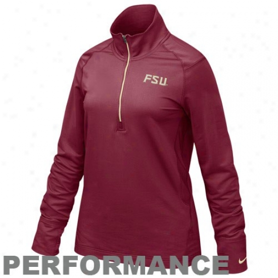 Nike Florida State Seminoles (fsu) Ladies Garnet 1/4 Zip Pullover Performance Jacket