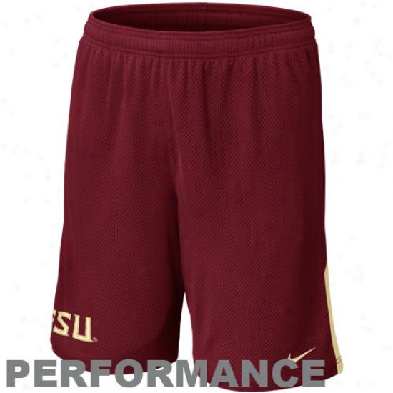 Nike Florida State Seminoles (fs8) Monster Mesh Performance Shorts - Garnet