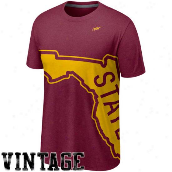 Nike Florida State Seminoles (fsu) Vault Big Logo Crew Tri-blend T-shirt - Garnet