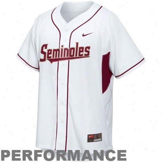 Nike Florida State Seminoles (fsu) Youth Replica Baseball Dri-fit Performance Jersey - White