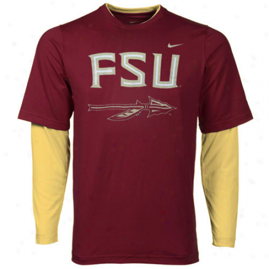 Nike Florida State Seminoles (fsu) Youth Splitter Double Layer T-shirt-garnet-gold