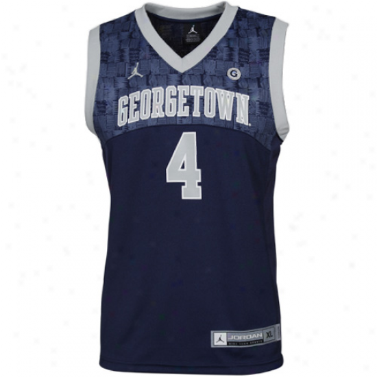 Nike Georgetown Hoyas #4 Young men Replica Basketball Jersey - Navy Blue