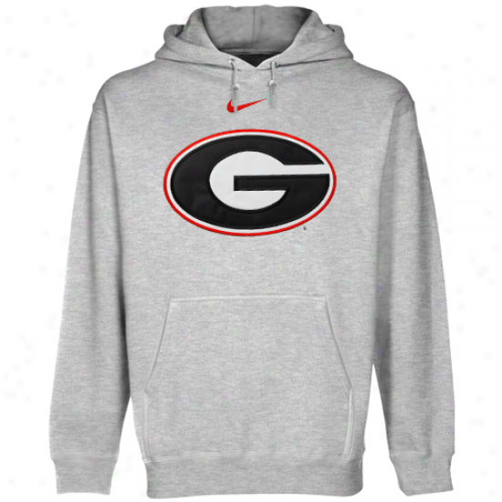 Nike Georgia Bulldogs Ash Classic Logo Pullover Hoodie Sweatshirt