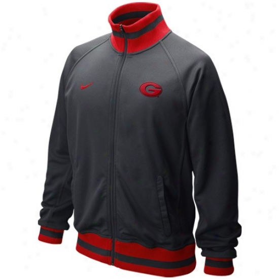 Nike Georgia Bulldogs Graphite Full Zip Collegiate Fast Trakc Jacket