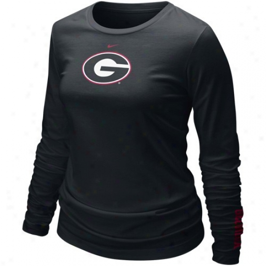 Nike Georgia Bulldogs Ladies Black Classic Logo Long Sleeve T-shirt