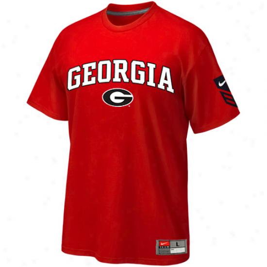 Nike Georgia Bulldogs Red Baseball Practice T-shirt