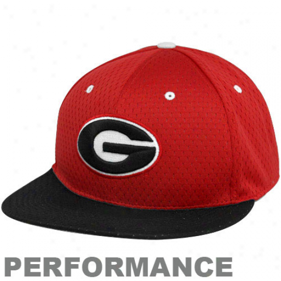 Nike Georgia Bulldogs Rrd-black Authentic Baseball Mesh Fitted Perfomrance Hat