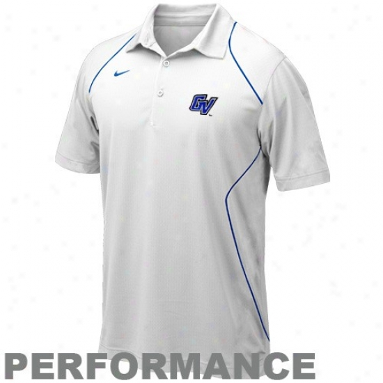 Nike Grand Valley State Lakers White Snap Count Performance Polo