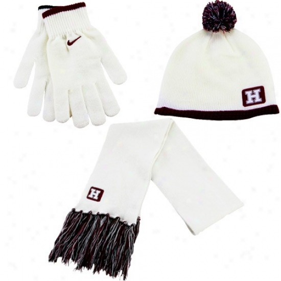 Nike Harvard Crimson Ladies White-crimson Beanie, Scarf & Glove Winter Set